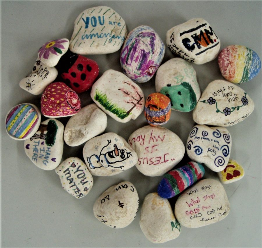 Many students have participated in the rock painting event.